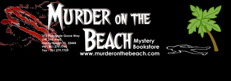Holly Brown signs at Murder on the Beach